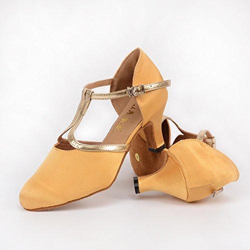 Abby 66 Fair Lady Wedding Party Chacha Closed Toe Personalizar Tacón Raso Prom Elegante Cóctel Zapatos De Baile Amarillo