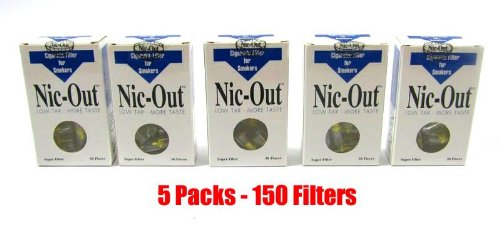 NIC-OUT Cigarette Filters 5 Packs (150 Filters) Smoking Free Tar & Nicotine Disposable Nicout Holders for Smokers DON'T QUIT SMOKING Nicfree