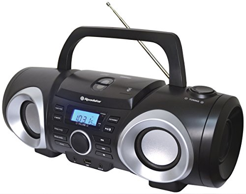 Roadstar CDR-265U schwarz Boombox mit LCD-Anzeige (CD/MP3, USB, AUX-In, Kopfhörerausgang)
