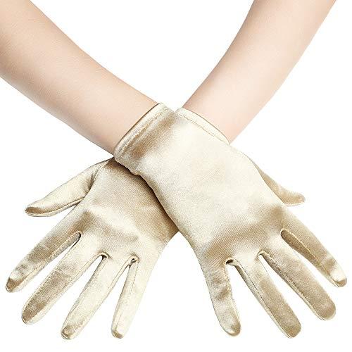 BABEYOND Short Opera Satin Gloves Wedding Evening Wrist Length Tea Party Gloves (Champagne)