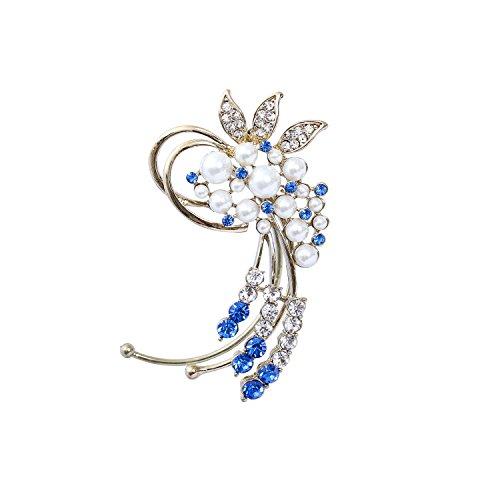 Fashion Gold-Tone Crystal Simulated Pearl Flower Cluster Ear Wrap Ear Cuff Women Earrings Left Side - Flower Pearl Cuff