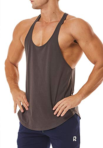 ROWILUX Men's Workout Quick Dry Soft Gym Bodybuilding Stringer Tank Tops