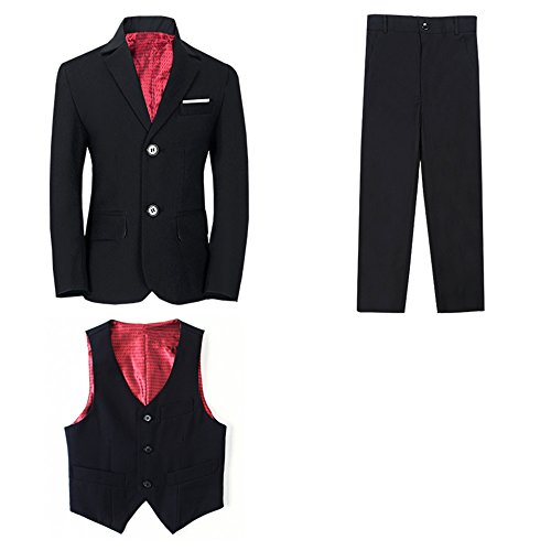 (Yanlu 3 Piece Boys Suits Toddler Tuxedo Kids Blazer+Vest+Pants Size 2T Black)