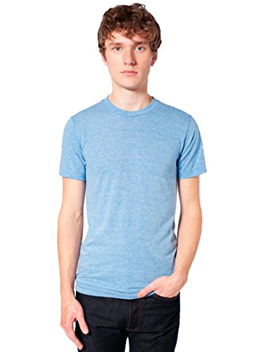 - American Apparel Men Tri-Blend Crewneck Track T-Shirt Size XL Athletic Blue