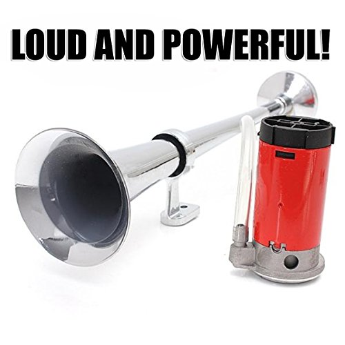 Zento Deals 12V Single Trumpet Air Horn Single Trumpet Air Horn + Compressor Powerful Loud 150db for Truck Boat SUV Train by Zento Deals (Image #1)