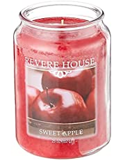 Candlelite 3559922 Candle-Lite House Scented Sweet Apple Single Wick 23oz Large Glass Jar Candle, Fruit Orchard Fragrance, 23 oz, Revere Red