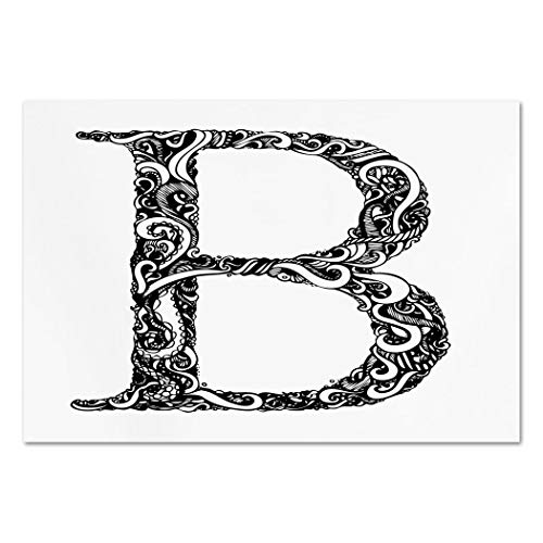 (Large Wall Mural Sticker [ Letter B,Black and White Abstract Swirls Classic Design Alphabet Uppercase B Symbol Print,Black White ] Self-Adhesive Vinyl Wallpaper/Removable Modern Decorating Wall)