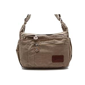 JTC-91552-KBB (Beige) Women's Bailey Crinkle Nylon Cross-Body Bag