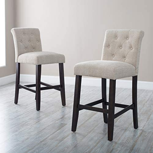 Home Collection Set of 2 Contemporary Beige Classic Tufted Fabric Upholstered Counter Stool with Back 26 Inch Seat Height