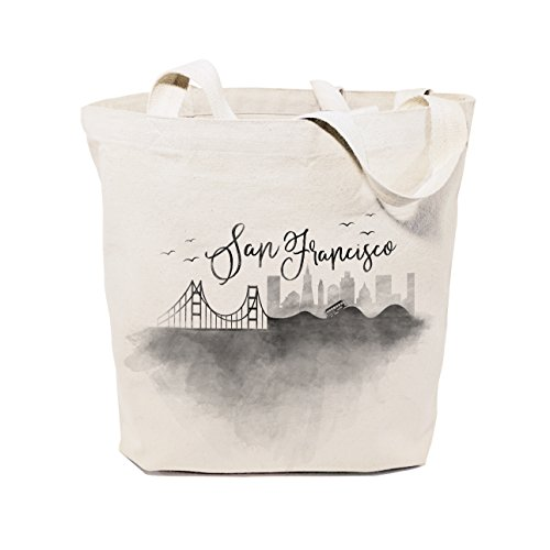The Cotton & Canvas Co. San Francisco Cityscape, Souvenir, Beach, Shopping and Travel Reusable Shoulder Tote and - Shopping San Cheap Francisco