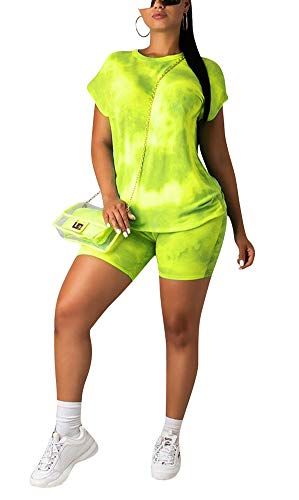 Summer Short Sets Women 2 Piece Outfits T-Shirts Short Sleeve Tie Dye Pullover Tank Tops Bodycon High Waisted Short Pants Set Jogger Clubwear Tracksuit Sportswear Cocktail Party Club Yellow, XX-Large (Party Outfits)