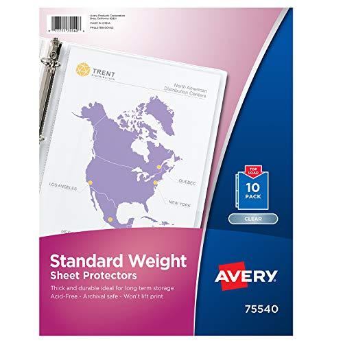 10 Binder Sheets (Avery Standard Weight Sheet Protectors, Pack of 10 Sheet Protectors (75540))