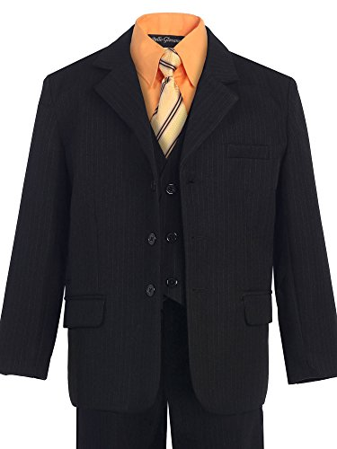 Five Piece Suit (Bello Giovane Boys Black Pinstripe 5-piece Suit with Color Shirt (7, Orange))