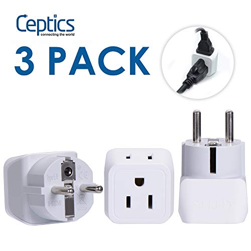 (Ceptics Schuko, Germany, France, Russia Travel Adapter Plug Type E/F (3 Pack) USA to Europe - Dual Inputs - Ultra Compact - CT-9 - Safe Grounded Perfect for Cell Phones, Laptops, Camera Chargers)
