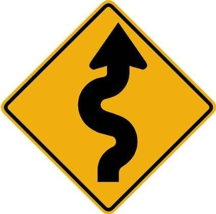 Amazon.com: Wallmonkeys Street and Traffic Sign Wall Decals, Winding ...
