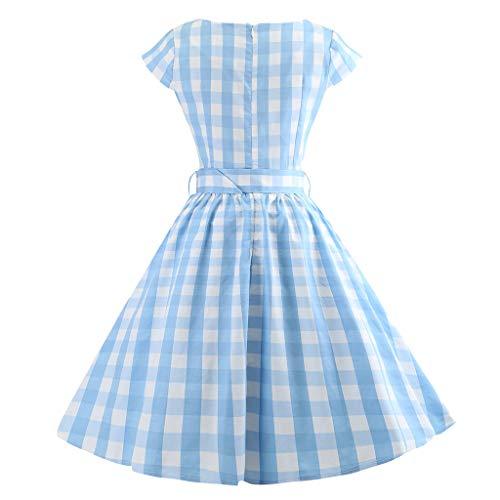 Toga Vestito 1 Moda Vestiti Donna Vintage Plaid Manica Abito Swing Azzurro Retro 2019 Palla VestitoCorto vNwnOm80