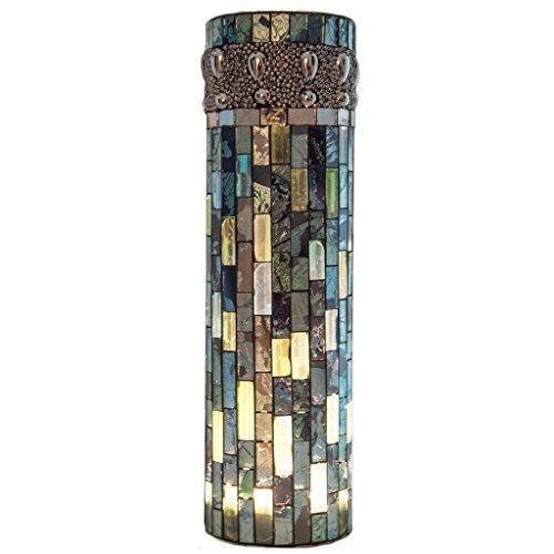 Bluebell Vase - River of Goods  15005S Bluebell Lit Mosaic Vase with LED Lights, Blue