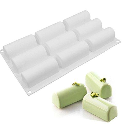 (Cylinder Shape Mousse Fondant Non-stick Mold Cake Decorating Mould Silicone Baking DIY Utensils Kitchen Tools,1 Pcs White)