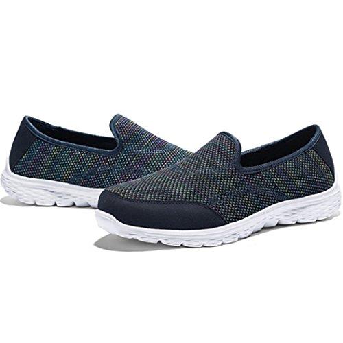Changping Chaussures De Marche Pour Femmes Maille Slip-on Mocassins Bleu
