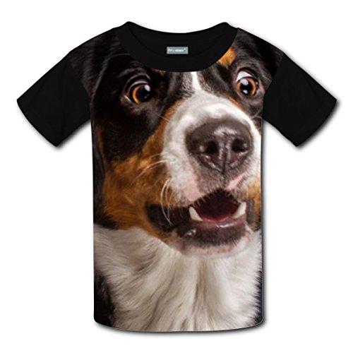 3d Dog Print Coustom Unisex Kids Running Short Sleeve T-Shirt Black Tee Tops for Boys Girls