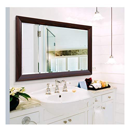 GAIXIA Bathroom Mirror Dormitory Dressing Table Mirror with Frame Wall Mounted Wash Basin Mirror Wall Mirror (Color : Brown, Size : 60cmX80cm)
