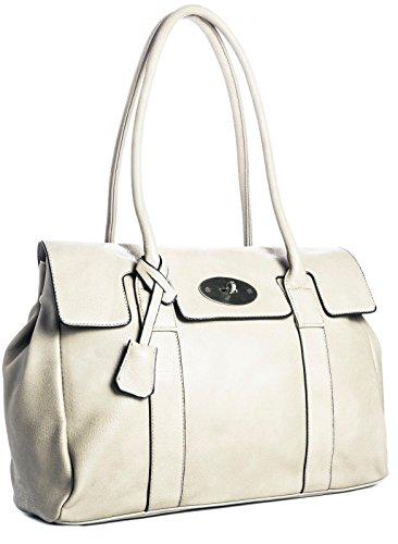 Big Handbag Shop Womens Faux Leather Designer Boutique Shoulder Bag (Cream)