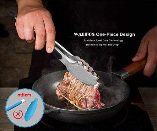 Walfos Lot de 3 pinces de cuisine en acier inoxydable de qualité alimentaire pour cuisine, barbecue, 17,8 cm et 30,5 cm Poignée antidérapante