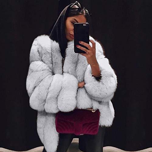 Donna Pelliccia Bazhahei Inverno White Cappotto giacca Alta Caldo Ecologica Manica Donna Qualità 100 Taglie Lunga Moda Forti Giacca ICCqwB