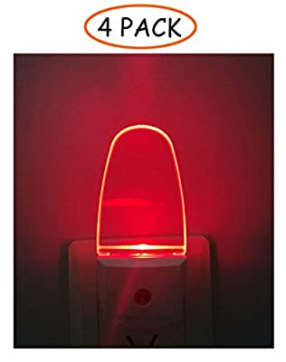 4 Pack Plug in LED Night Light Lamp with Dusk to Dawn Sensor, Red Light