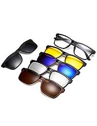 anteojos de sol polarizadas magnéticas, marco de plástico para conducción nocturna, 5 unidades