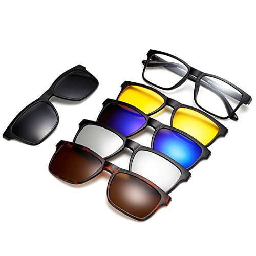 DR. OR GETEK 5Pcs Clip-on Sunglasses, Light Weight Polarized Magnetic Lens Plastic Frame for Night ()