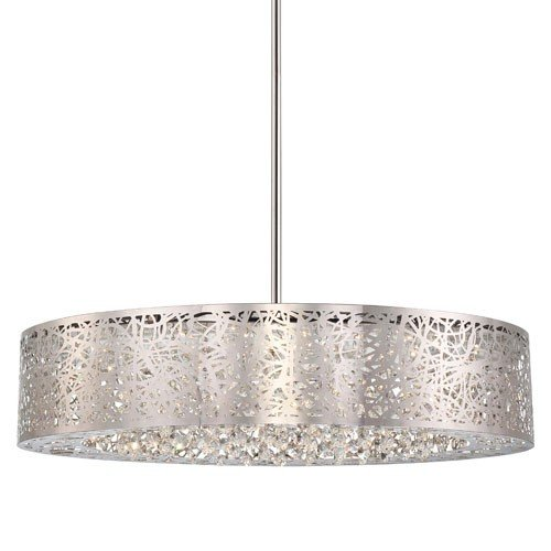 George Kovacs P986-077-L, Hidden Gems Large Drum Pendant, 1 Light LED, Chrome by George Kovacs
