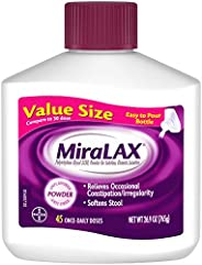 MiraLAX Laxative Powder for Gentle Constipation Relief, 1 Dr. Recommended Brand, 45 Dose Polyethylene Glycol 3