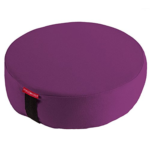 Peace Yoga Zafu Meditation Yoga Buckwheat Filled Round Cotton Bolster Pillow Cushion (Purple, 13