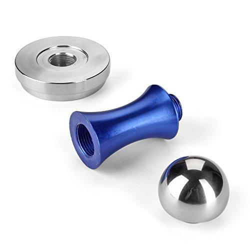 Flexzion Coffee Tamper Machine 58mm Diameter Stainless Steel Flat Base Grip Handle Barista Espresso Bean Press Tool in Blue Kitchen Accessories