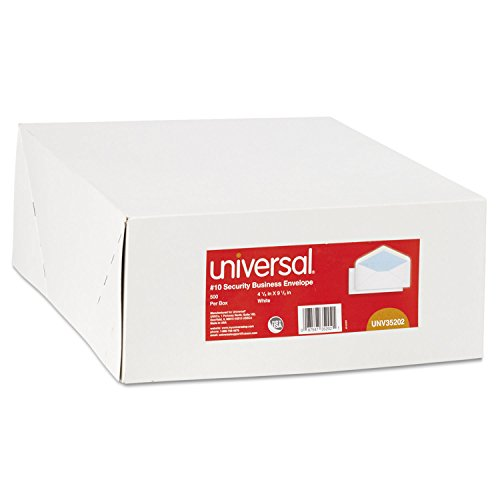Universal 35202 Security Tinted Business Envelope, 10, 4 1/8 x 9 1/2, White, 500/Box ()