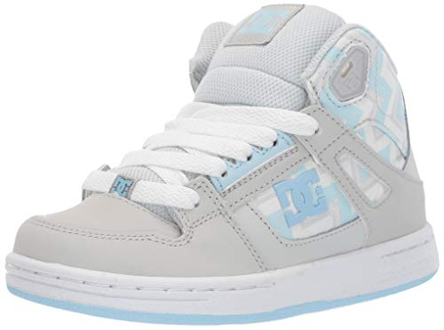 DC Girls' Pure HIGH-TOP SP Sneaker, Blue/Grey, 6 M M US Big Kid
