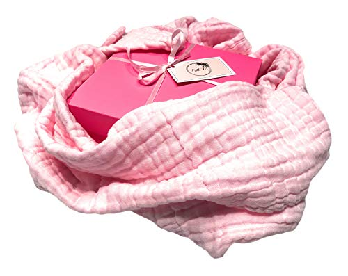 - Baby Hooded Bath Towel 100% Organic Cotton,Bunny Ears, Super Absorbent and Hypoallergenic for Infants and Toddlers Sensitive Skin. Muslin Cotton Can be Also Used as a Blanket. Pink