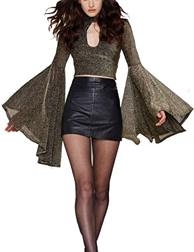 ASMAX HaoDuoYi Womens Luxury Ruffle Bell Cut Out Choker Crop Top Blouse Gold
