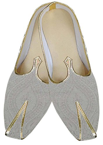 INMONARCH Mens Cream Wedding Rajasthani Shoes MJ0070 nMTEqk