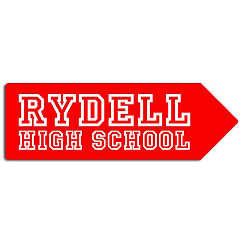 PotteLove Rydell High School Arrow - Metal Wall Sign Plaque Art- Grease Movie Fan Pink -