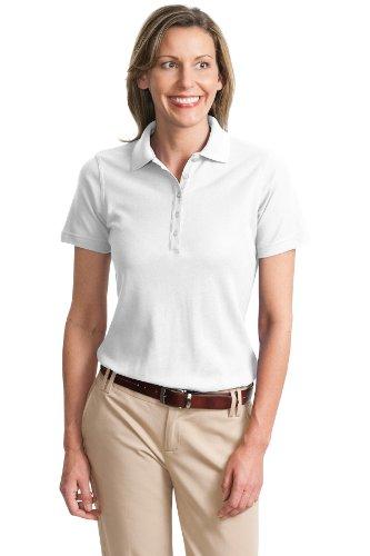 Port Authority Ladies Cotton Pique Knit Sport Shirt, 3XL, White