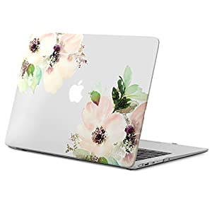"Kuzy AIR 13-inch Rubberized Hard Case for MacBook Air 13.3"" (A1466 & A1369)(NEWEST VERSION) Shell Cover Matte - Frosted-Clear Flowers"