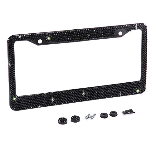 Neobling Fashion Waterproof Classic Black Bling Crystal License Plate Frame Luxury Rhinestone Premium Stainless Steel Car/Truck/SUV License Plate Holder for Women(1 Frame)