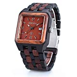 Bewell Wooden Watch Men Analog Quartz Square Dial Wristwatches with Date Display(Black & Red Wood)
