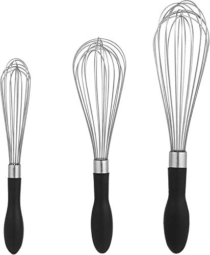 AmazonBasics Stainless Steel Wire Whisk Set (3-Piece) Price & Reviews