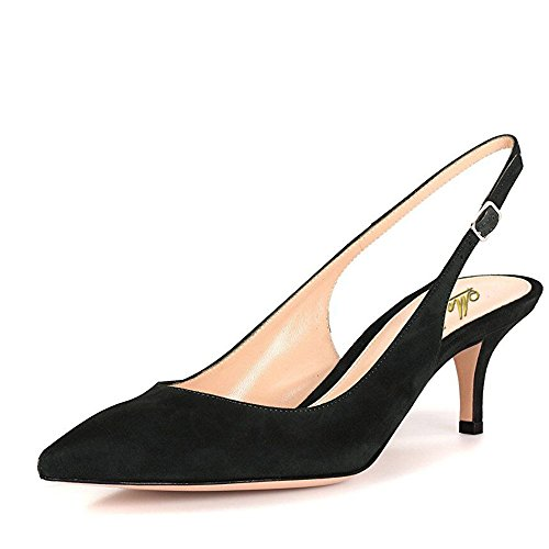 Suede Leather Women (Modemoven Women's Black Suede Leather Pointed Toe Slingback Ankle Strap Kitten Heels Pumps Evening Stiletto Shoes - 8.5 M US)