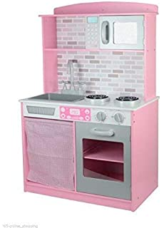 8b8547754bf1 Garden Mile® Large Colourful Girls Kids Pink And White Wooden Play Kitchen  Children's Pretend Play