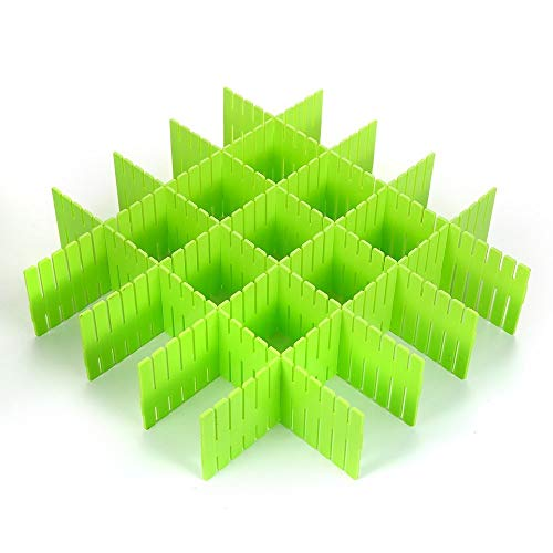 8 Pcs Plastic DIY Grid Drawer Divider Household Necessities Storage Thickening Housing Spacer Sub-grid Finishing Shelves for Home Tidy Closet Stationary Makeup Socks Underwear Scarves Organizer(green)