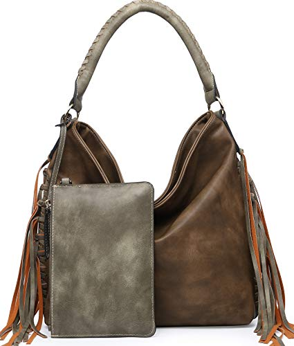 Shomico Womens Shoulder bag Hobo Purse Crossbody Fringe Bags for Ladies Taupe Green Brown Large Big Oversize (Ad khaki)